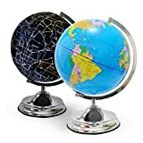 Illuminated Kids Globe with Stand – Educational Gift with Detailed World Map and LED Light, Shows Constellations at night (Power Cord Included)