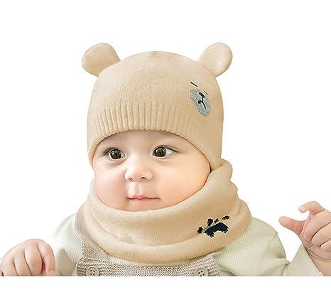 be92d08fb Tukistore Niños Invierno Sombrero Invierno Bufanda Invierno Otoño Cálido  Sombrero de Punto Gorro de Lana con