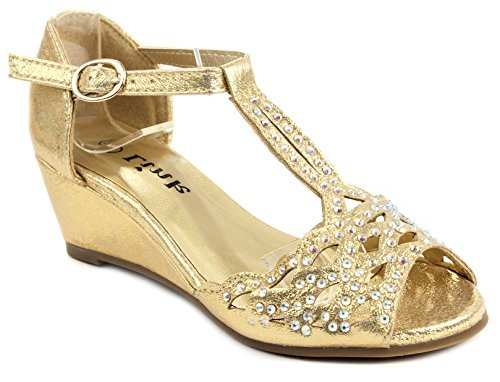 Blaze04 Kids Gold Rhinestone Peep Toe Cut Out Ankle Strap Wedge Dress Sandal Shoes-2