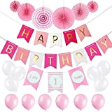 Baby Girls 1st Birthday Party Decorations Pack-Happy Birthday Banner,6 Pcs Pink Decorative Tissue Paper Fans,One Banner and Balloons