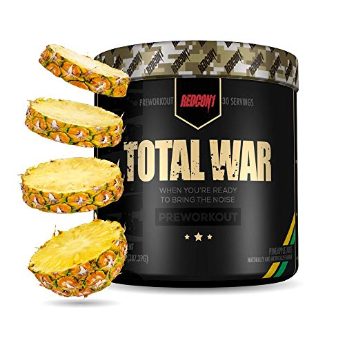 Redcon1 Total War - Pre Workout, 30 Servings, Boost Energy, Increase Endurance and Focus, Beta-Alanine, Caffeine (Pineapple Juice)