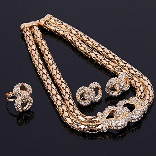 ... Accessoires Hochzeit Ring Gold legierung 18k Frau Vier Der Sätze Mode  Ohrringe Damen Schmuck Für Gyman ... c10284989d