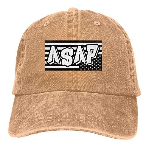 ASAP Rocky American Mens Washed Cotto Snapback Flat Brim Cap