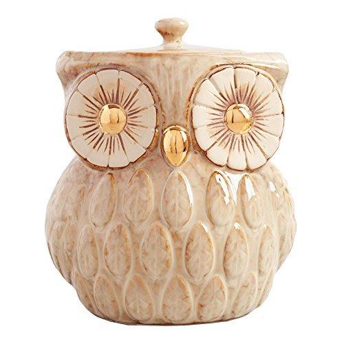 Vintage Gold Metallic Cookie Jar  Sweet Cookie Jar | Reactive Glaze Owl Inspired Cookie Jar | Farmhouse Look  Storage for Flour Sugar Tea Coffee Cookies and Candies | 104 Ounce