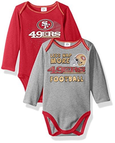 NFL San Francisco 49ers Boys Long Sleeve Bodysuit (2 Pack), 3-6 Months, Red
