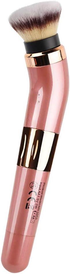 WWWNNUUUX Eléctrica rotativa de Cepillo del Maquillaje, rotatorio de 360 Grados Cepillo cosméticos portátil Powder Blush Brush con 2 Cabezas de Cepillo