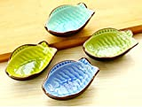 Ceramic Small Dishes Snacks Sauce Flavouring Plates Fish & Leaf Design 3pcs/lot.