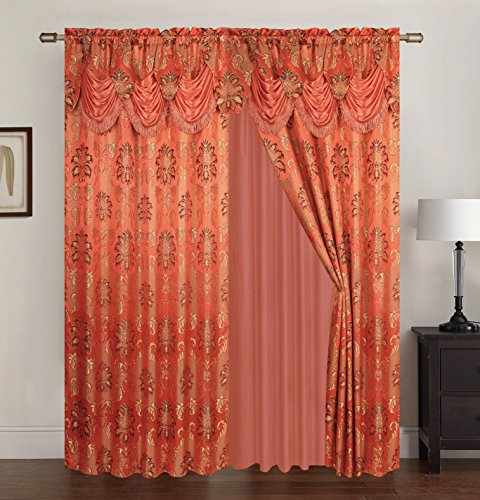 (RT Designers Collection Benton Jacquard Rod Pocket Single Curtain Panel,)