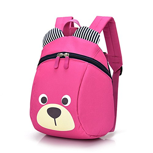 Cute Bear Small Toddler Backpack With Leash Children Kids Backpack Bag for Boy Girl (pink)