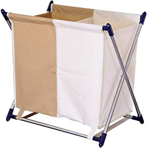 BAOYOUNI 2 Section Laundry Hamper Collapsible Dirty Clothes Storage Sorter Basket Bin Made of Oxford cloth and Aluminum Frame 23.62 x 13.77 x 21.65'' for Home, Bathroom, Bedroom, Apartment and Dorms