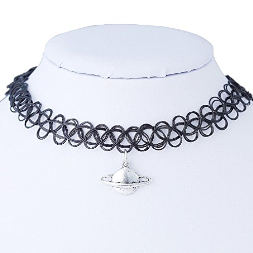 Fullkang Tattoo Saturn Choker Necklace Stretch Double Layer Henna Vintage Torque (Plastic Necklace Vintage)