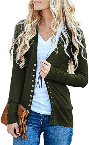 Women's S-3XL Solid Button Front Knitwears Long Sleeve Casual Cardigans Army Green S