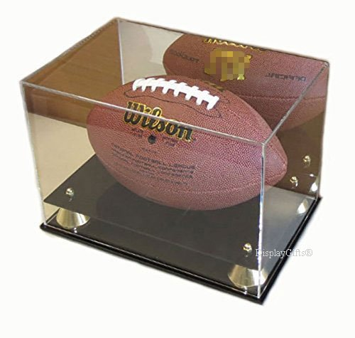DisplayGifts Deluxe UV Acrylic Full Size Football Display Case Stand with Mirror, Riser Stand, (Black Acrylic Football Display Case)