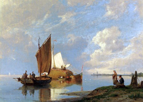 Art Oyster Pieter Christian Dommerson Off Volendam on The Zuiderzee - 18.1'' x 27.1'' 100% Hand Painted Oil Painting Reproduction by Art Oyster