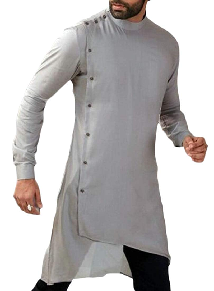 Cromoncent Mens Thobe Big and Tall Oblique Button Long-Sleeve Muslim Shirt