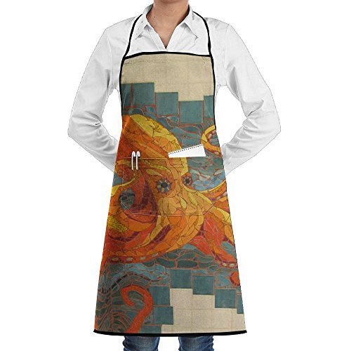 NRIEG Mosaic Wall Giant Octopus Faction Unisex Kitchen Cooking Garden Apron,Convenient Adjustable Sewing Pocket Waterproof Chef (Mosaic Garden Thermometer)