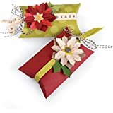 Sizzix 660660 Fustella Thinlits Cuscino a Scomparsa e Poinsettias di Jen Long, Carbon Steel, Multicolore, 24.2x12x0.2 cm