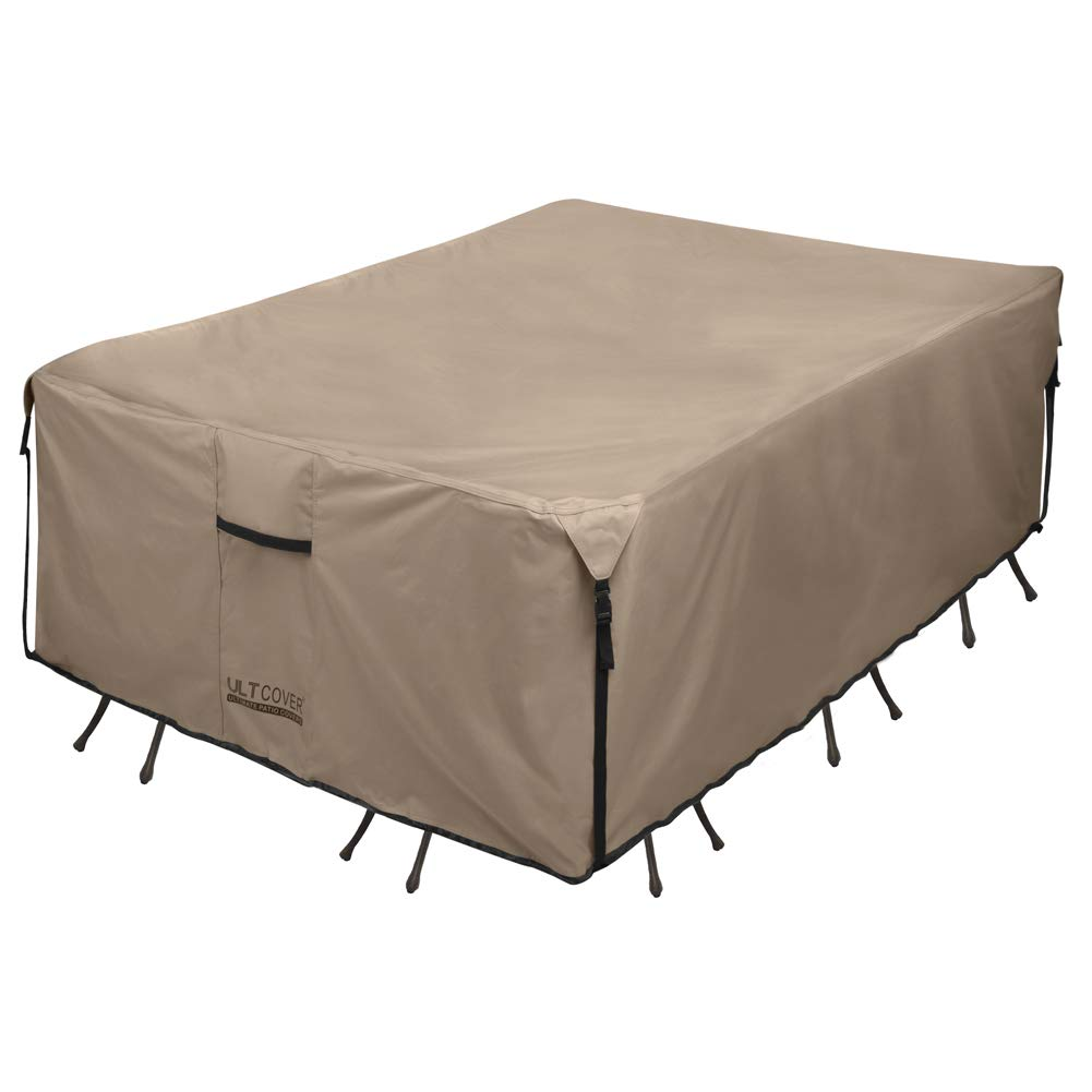 ULTCOVER 600D PVC Durable Rectangular Patio Table with Chair Cover - Waterproof Outdoor Furniture Table Covers 111 x 74 inch