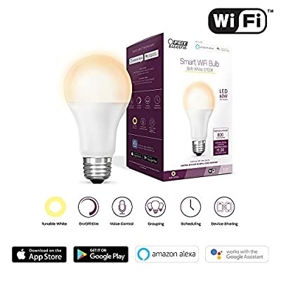 Feit Electric A800/AG LED, No Hub Required, Works with Alexa and Google Assistant Dimmable 60W Equivalent (2700K) A19 Light Bulb