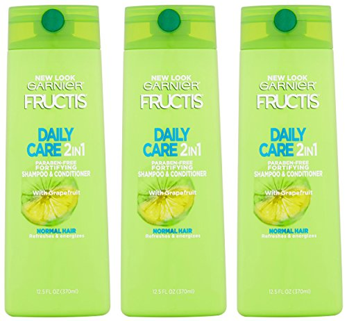 Garnier Fructis Haircare - Daily Care - 2 in 1 Shampoo & Conditioner - With Grapefruit - Net Wt. 12.5 FL OZ (370 mL) Per Bottle - Pack of 3 ()