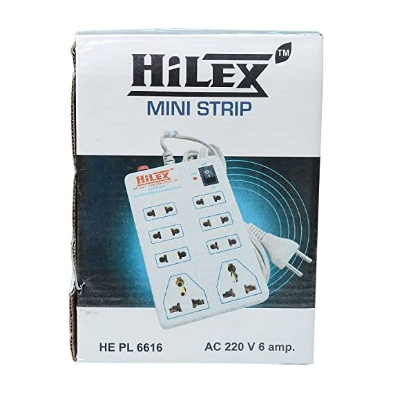 Hilex Mini Strip 8 Plug Point Extension Strip with Fuse and Spark Suppressor