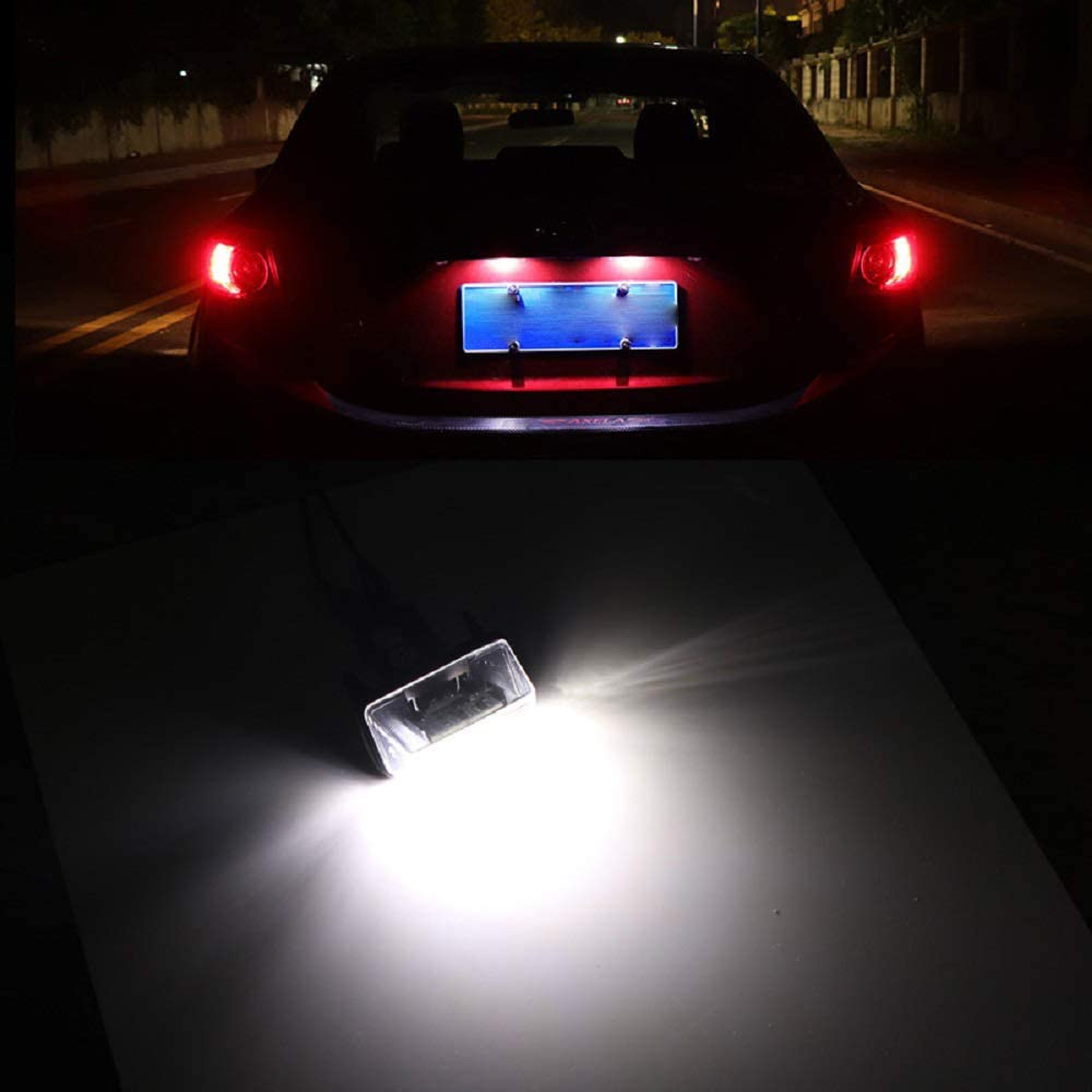Car License Plate Light MACHSWON 2 PCS 18LED License Number Plate Lights Bulbs Assembly Replacement for Ci-troen C3 C4 C5 Ber-lingo Sa-xo