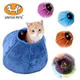 Image of United Pets Kitty Cat Cozy Cave & Bed (Orange)