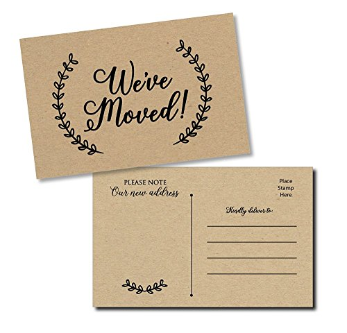 50 Moving Announcement Postcards - Fill in The Blank Change of Address - Rustic Kraft We