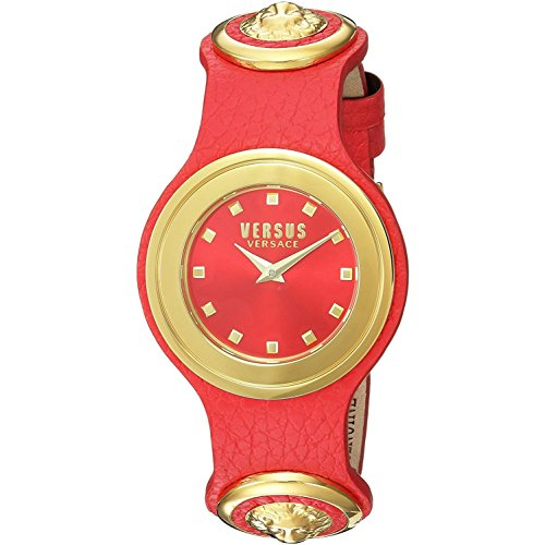 First Street Leather - Versus by Versace Women's 'Carnaby Street' Quartz Stainless Steel and Leather Casual Watch, Color:Red (Model: SCG050016)
