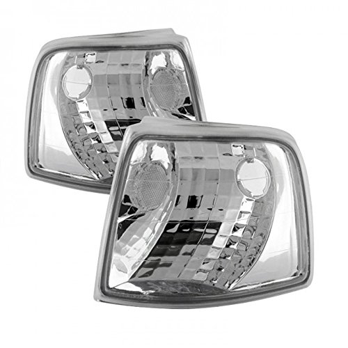 VIPMOTOZ Front Turn Signal & Cornering Light Assembly For 1993-1997 Ford Ranger, Metallic Chrome Housing, Driver and Passenger Side