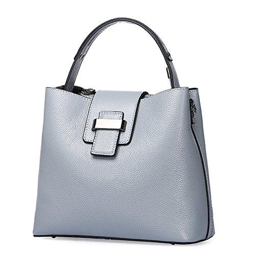 Bi Color Tote (BICOLOR Vintage Tote Top-handle Bag Leather Shoulder Messanger Bags-Light)