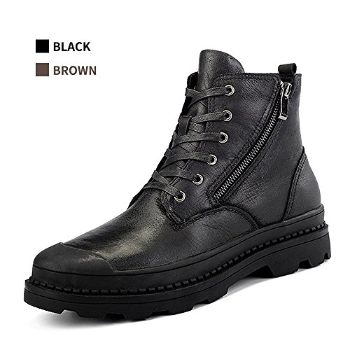 ENLEN&BENNA Men's Combat Boots Military Desert Boots Ankle Boots Side Zip Casual Boots Fashion Waterproof Brown Black