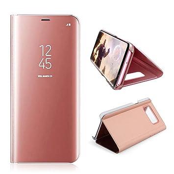 AURSEN Case de Teléfono para Samsung Galaxy S9 Plus, Flip Cover Carcasa Samsung S9 +, Soporte Plegable, Cierre Magnético - Color Oro Rosa