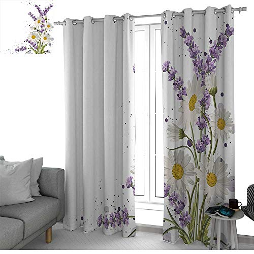 NUOMANAN Decor Curtains by Lavender,Vivid Bouquet with Daisies Color Slashes Scenic Modern Artistic,Lilac Reseda Green Marigold,Wide Blackout Curtains, Keep Warm Draperies, Set of 2 120