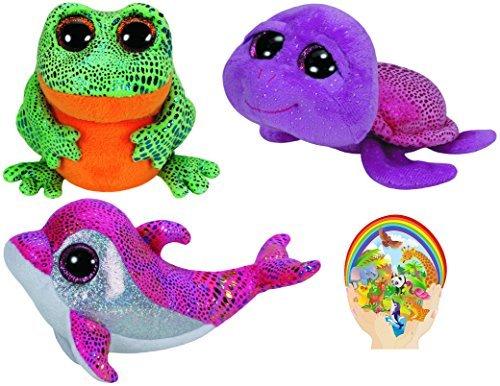 TY Beanie Boos (paillettes Le Dauphin, slow-poke la tortue, et ksr37la grenouille Marine Life Lot de 3avec Bonus Sticker (Ty Beanie Boo Slow Poke)