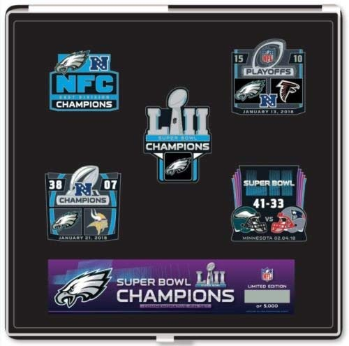 - Football 2018 Super Bowl 52 Eagles Champions PIN Set 5 PC Boxed Superbowl LII NFL Championship Set