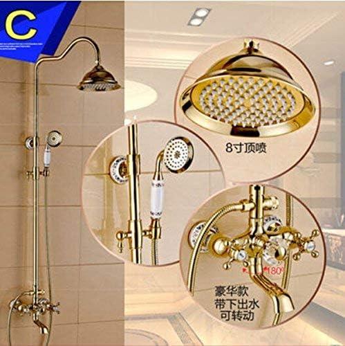 CHUNSHENN ハンドヘルドシャワー壁掛け浴室露出シャワーミキサータップ、マルチと蛇口ゴールデンレインシャワー蛇口セット バス用品