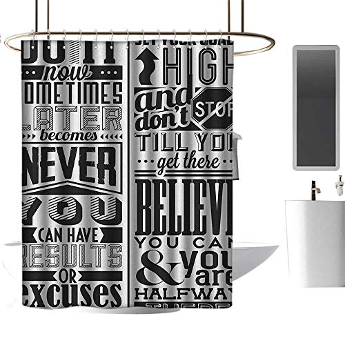 TimBeve Colorful Shower Curtain Motivational,Vintage Set of Positive Quotations with Victorian Classical Design Elements, Black White,Durable Waterproof Fabric Bathroom Curtain 60