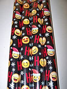 EMOJI 1 Roll of 50 sq ft Gift Wrap Christmas paper (Black)