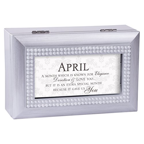 April Elegance Special You Birthstone Silver Petite Jewelry Music Box Plays Tune Amazing Grace