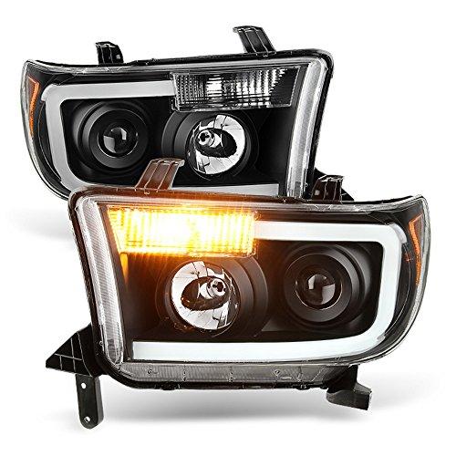 ACANII - For Black 07-13 Toyota Tundra 08-17 Sequoia [OPTIC] LED Projector Headlights Headlamps Driver + Passenger Side
