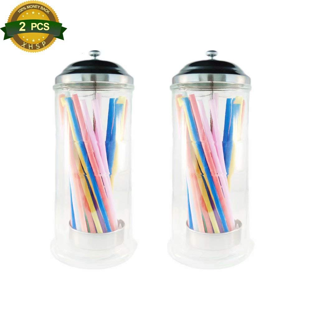 2 Pcs Retro Old Fashioned Vintage Glass Straw Dispenser Holder Jar 13 Inch Tall Drinking Straw Holder for Kitchen Hotel(Straws are not included) by XHSP