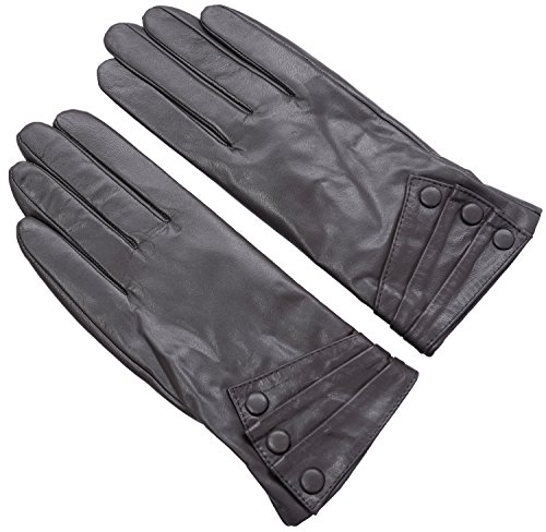 Ambesi Women's Touchscreen Fleece Lined Nappa Leather Winter Gloves Grey S