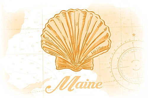 Maine - Scallop Shell - Yellow - Coastal Icon (24x36 SIGNED Print Master Giclee Print w/Certificate of Authenticity - Wall Decor Travel Poster)