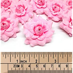 """(100) Silk Pink Roses Flower Head - 1.75"""" - Artificial Flowers Heads Fabric Floral Supplies Wholesale Lot for Wedding Flowers Accessories Make Bridal Hair Clips Headbands Dress 4"""