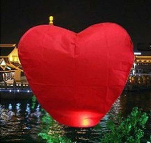 (10 PCS Sky Chinese Lanterns Flying Paper Wish Wishing Balloon Heart-shape for Wedding Festival Xmas Christmas Party)