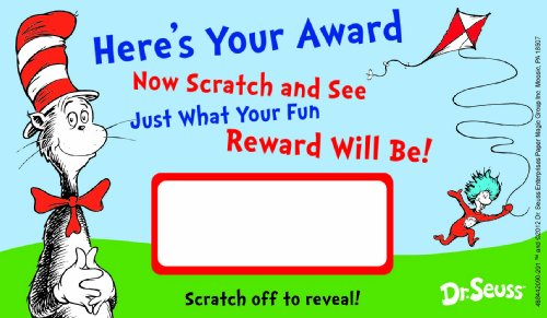 Eureka Back to School Dr. Seuss Cat in The Hat Scratch-Off Student Awards, 24pc, 3.5'' H X 6'' -
