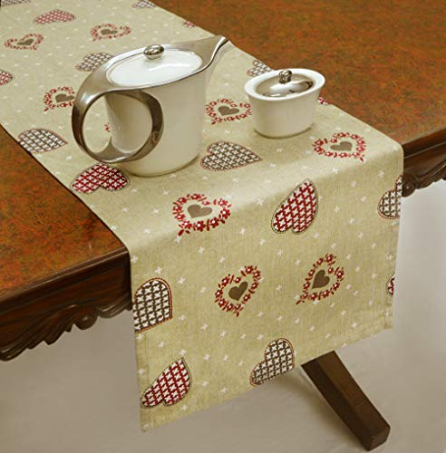 R Home Cotton Rectangle Printed Table Runner, Christmas Heart Decorative Print, Red - Beige, 16 x 60 Inch, for Dinner, Parties, Decoration, Outdoor, Holiday, Wedding, Gift and Thanksgiving. ()