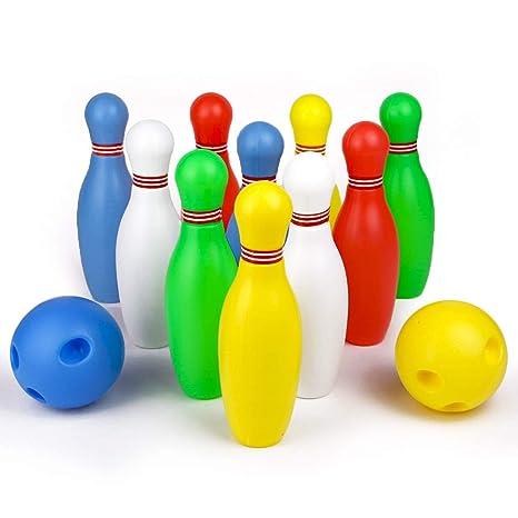 097f950b7a58b Bowling Kegelspiel Kinder Set Kegeln Spiel Bowlingkugel Boule-Spiele mit 2  Bälle und 10 Kegel