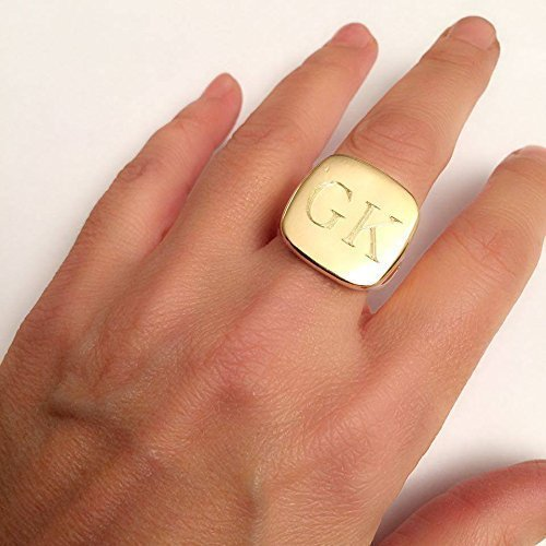 956885e7a92c5 Amazon.com: Square signet ring, gold signet ring, engraved ring ...